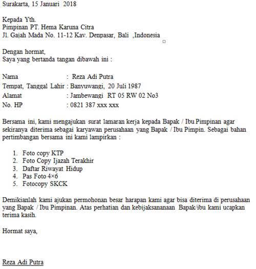 Contoh surat lamaran kerja resmi