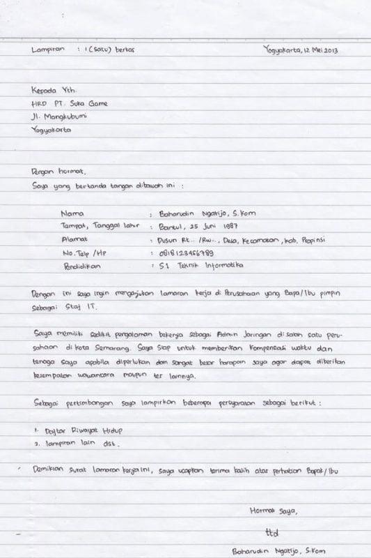 Contoh surat lamaran kerja tulis tangan sederhana dan menarik