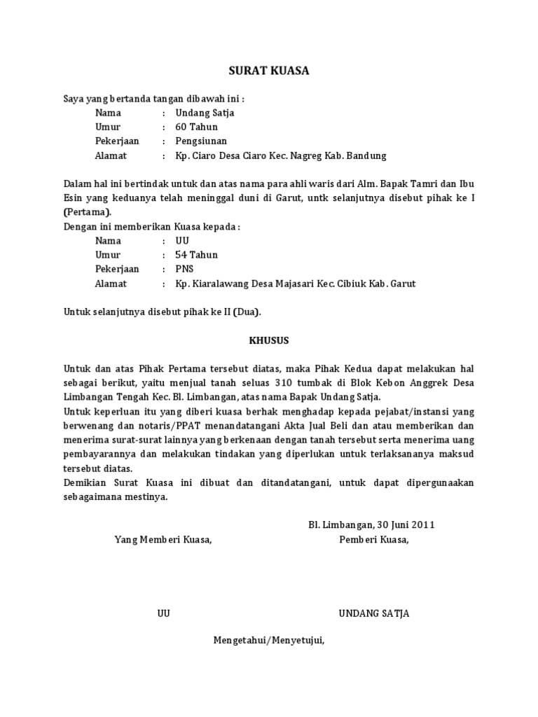 Contoh surat kuasa tanah
