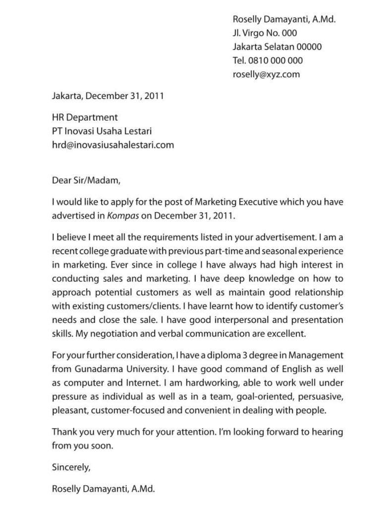 Contoh surat lamaran kerja bahasa inggris marketing executive