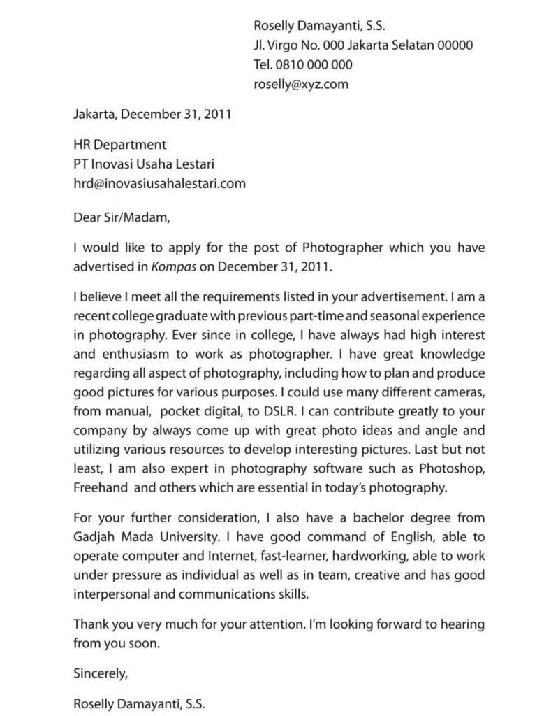Contoh surat lamaran kerja bahasa inggris sebagai fotografer