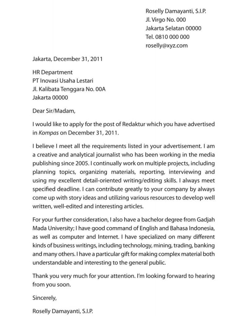 Contoh Surat Lamaran Kerja Reporter Bahasa Inggris Dan Artinya